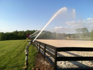 Irrigation for horse rinks